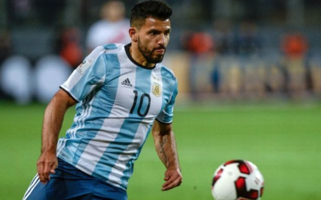 Aguero in action for Argentina
