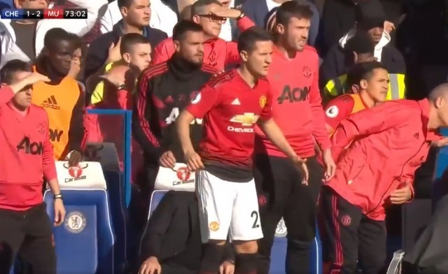 Man Utd's Ander Herrera reacts to Martial goal vs Chelsea - video