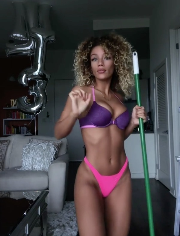 Jena Frumes in pink and purple lingerie