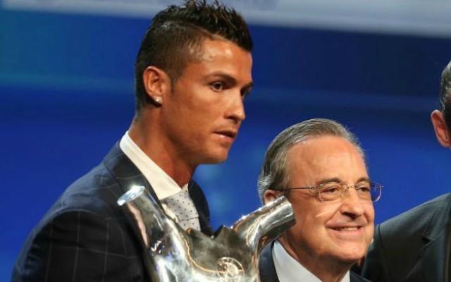 Cristiano Ronaldo with Real Madrid president Florentino Perez
