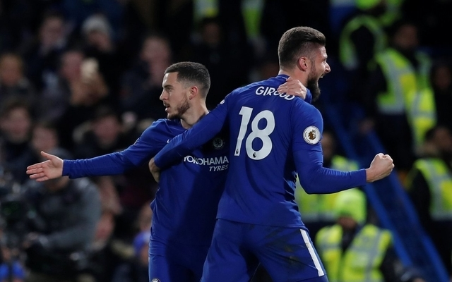 Giroud Hazard celebrate Chelsea goal vs West Brom