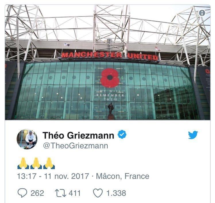 Theo Griezmann Man Utd tweet