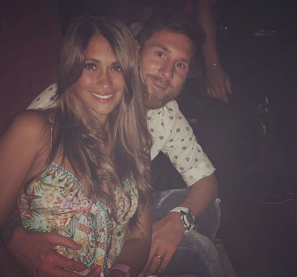 "Antonella Roccuzzo poses with Lionel Messi and wrote: ""About last night"""