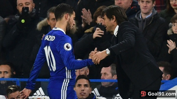 Premier League: Conte delighted with 'complete player' Hazard