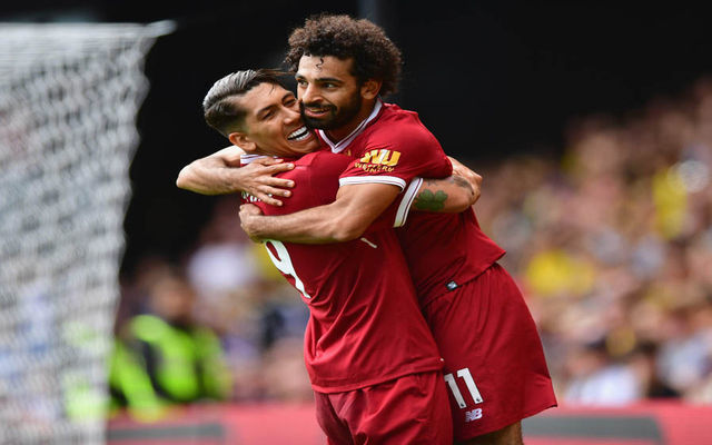 Liverpool's Mo Salah and Roberto Firmino
