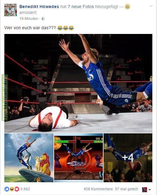 Benedikt Höwedes (Schalke 04) shares some pictures of him after the match against Wolfsburg