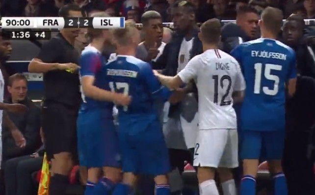 Man Utd's Paul Pogba brawl video in France vs Iceland