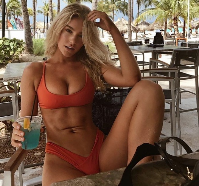 Georgia Gibbs relaxing with a cocktail