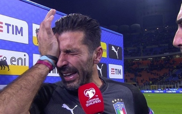 Gianluigi Buffon tries not to cry as he is interviewed after playing his final match for Italy