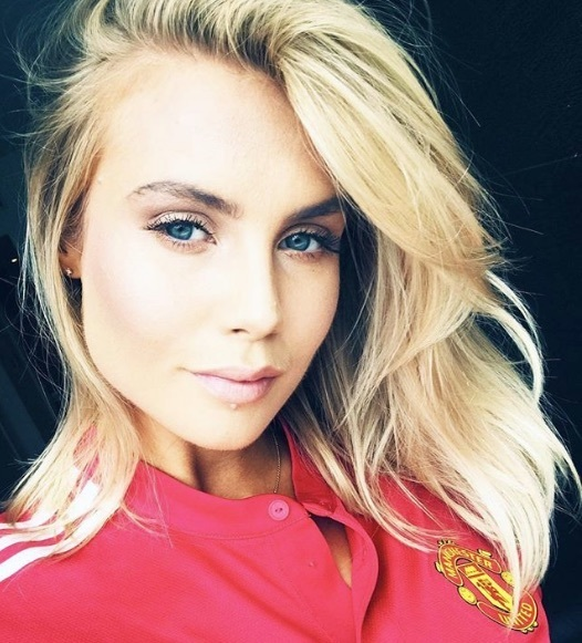 Maja Nilsson wearing the shirt Victor Lindelof made his Manchester United debut in