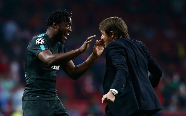 Michy Batshuayi and Antonio Conte v Atletico Madrid