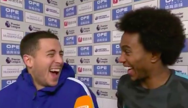 Video: Eden Hazard and Willian laugh hysterically at suggestion Chelsea could still catch Manchester City