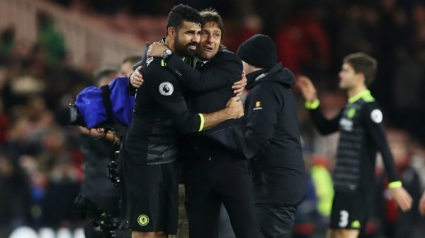 Premier League: Antonio Conte salutes Diego Costa after firing Chelsea top