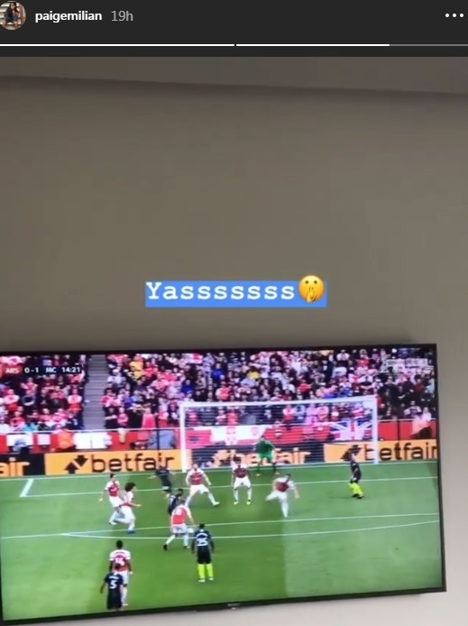 Paige Milian celebrates Raheem Sterling goal vs Arsenal