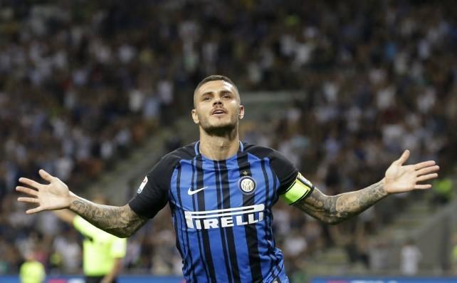 Icardi celebrates a goal for Inter Milan