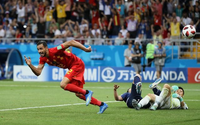 Chadli celebrates Belgium 3-2 Japan World Cup