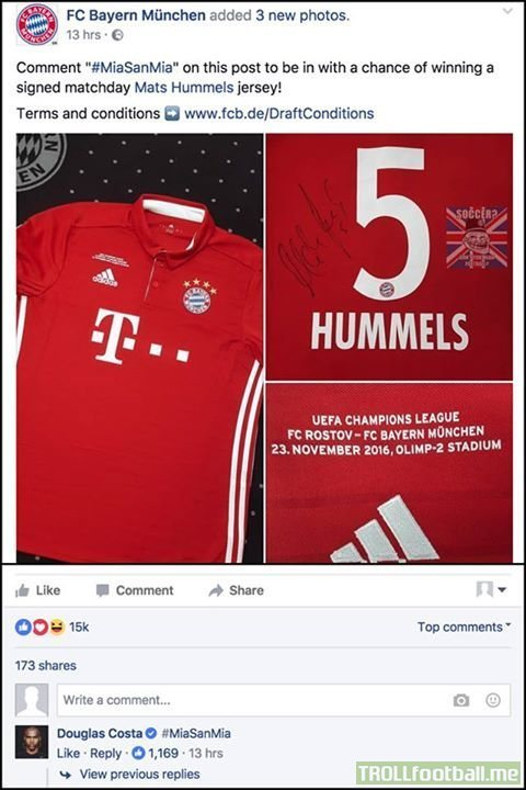 Douglas Costa on FC Bayern München's Facebook page