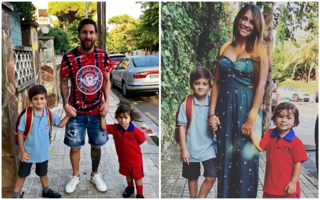 Photos: Adorable picture shows Lionel Messi doing dad duties as he takes sons to school