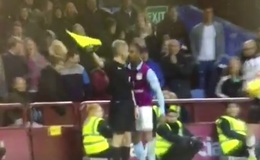 (Video) Leandro Bacuna throws headbutt at linesman, gets red card in crazy scenes during Aston Villa v Derby